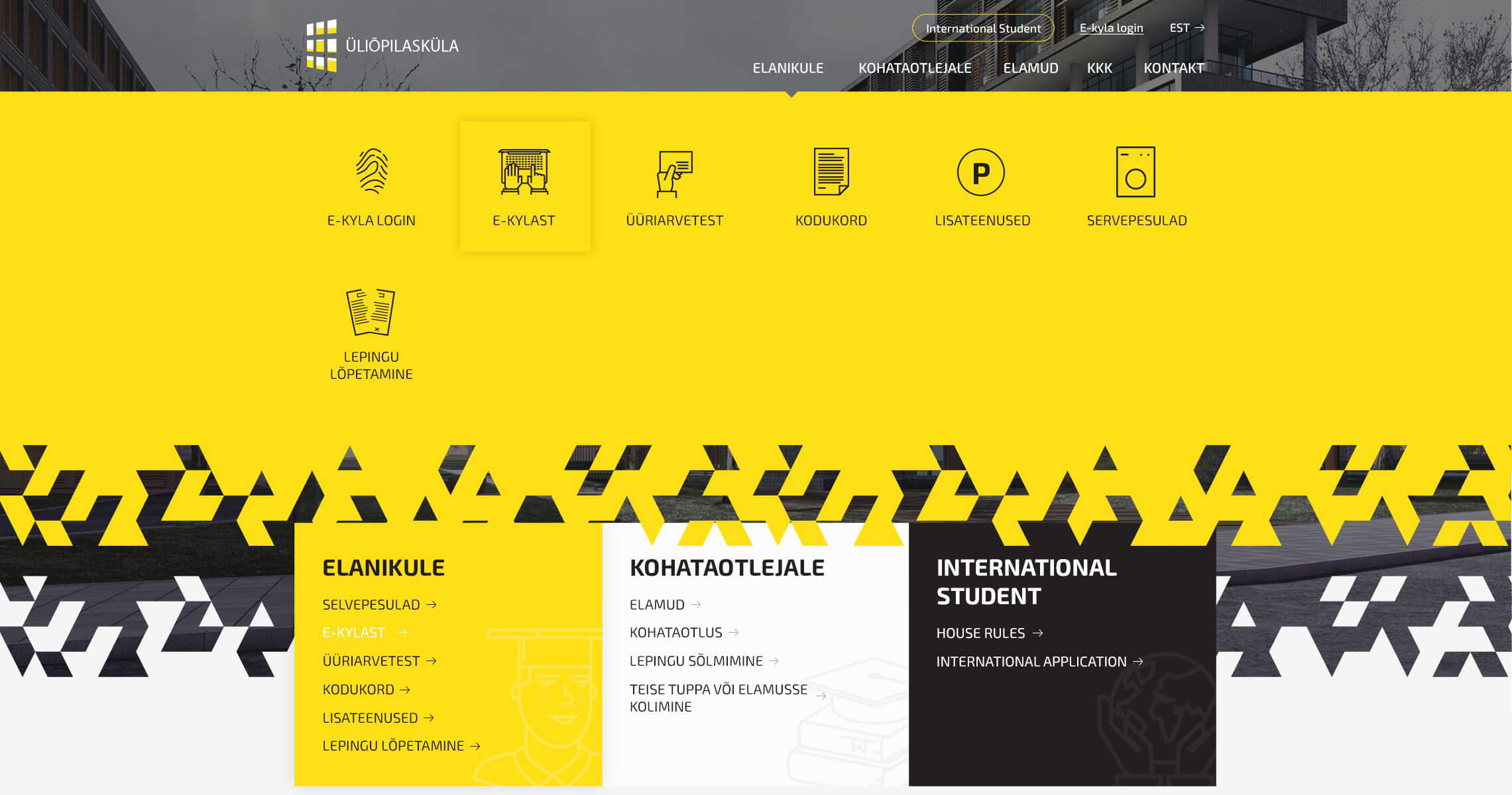University campus Tartu desktop UI main menu
